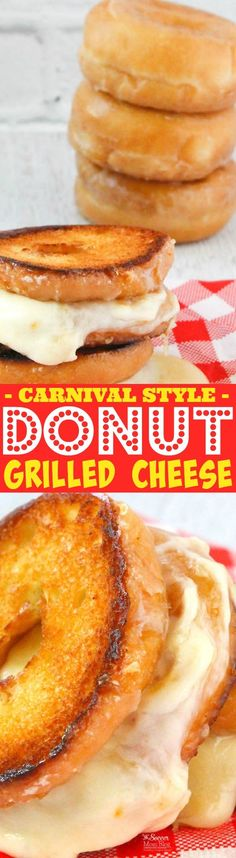Just like you'd find at the state fair this donut grilled cheese will send you away into carb-y cheesy bliss! You can eat this delicious dish for dessert lunch snack or anytime! Try making one of these amazing comfort food sandwiches today! Donut Recipes, Dessert Recipes, Cooking Recipes, Sandwich Recipes, Cooking Tips, Breakfast Recipes, Concession Food, State Fair Food, Carnival Food