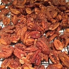 Glazed cinnamon pecans get a little spicy kick thanks to cayenne pepper. Make these seasoned nuts for a quick and easy gift or snack. Spicy Pecans Recipe, Spiced Pecans, Roasted Pecans, Glazed Pecans, Candied Pecans, Pecan Recipes, Spicy Recipes, Easy Recipes, Cinnamon Sugar Pecans