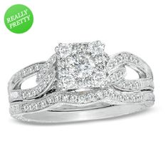I've tagged a product on Zales: 3/4 CT. T.W. Diamond Cluster Split Shank Bridal Set in 14K White Gold $1679