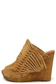 Sbicca Pitch Tan Suede Leather Fringe Wedges