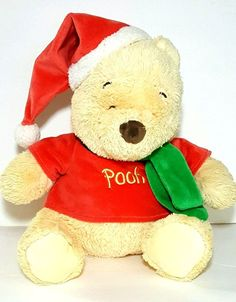 "Disney Baby Winnie The Pooh Santa Hat Scarf POOH Shirt 13"" Plush Stuffed Animal  #Disney"