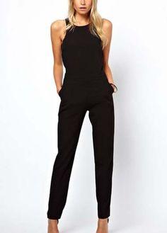 Round Neck Black Ankle Length Jumpsuit