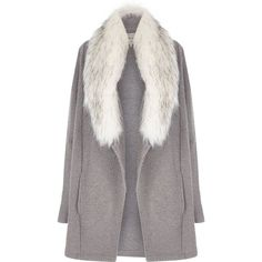 River Island Grey faux fur collar jacket ($110) ❤ liked on Polyvore featuring outerwear, jackets, coats, coats & jackets, coats / jackets, grey, women, faux fur collar jacket, river island jackets and grey jacket