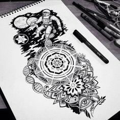 Cool astronaut themed tattoo flash piece. Artwork by MiL Et Une Sydney, Australia