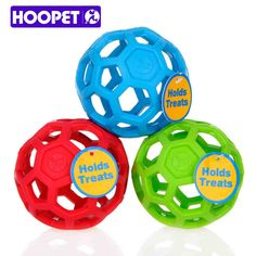 Hoopet escurrir los alimentos pelota de juguete de perro natural no tóxico de goma pelota de juguete de peluche perro de oro geométrica mordedura-resistente dientes 3 colores