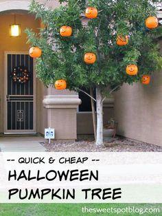 DIY Halloween Pumpkin Tree: Quick AND Cheap! By The Sweet Spot Blog #fall #october