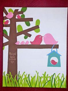 Birdies in tree (acrylic on canvas)