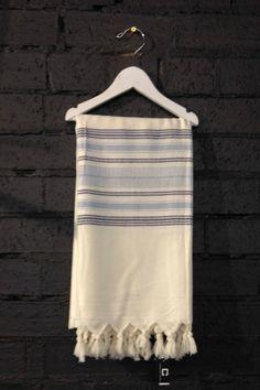 Carousel Standard Turkish Towels in Cream Blue Stripe