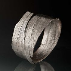 vvv Bark Bracelet Sterling Silver Wide Textured Bracelet by nodeform