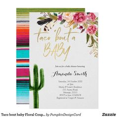 Shop Taco bout baby Floral Couples Shower Invitation created by PumpkinDesignCard. Couples Shower Invitations, Baby Shower Invitation Cards, Zazzle Invitations, Invites, Cactus, Floral Baby Shower, Shower Baby, Couples Baby Showers, Baby Favors