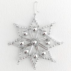 Beaded Christmas Ornaments, Snowflake Ornaments, Vintage Ornaments, Christmas Items, Snowflakes, Christmas Crafts, Beaded Snowflake, Christmas Things, Beaded Crafts