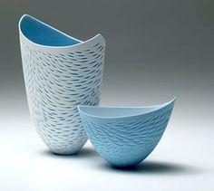 Ceramics by Sasha Wardell at Studiopottery.co.uk - 2005. Bone China. Tall Wavy Rim Vase, blue. Height 22cm. and Small Wavy Rim Bowl, blue outside. Height 11cm. (incised)