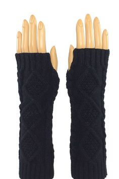 Black Elbow Length Fingerless Knitted Gloves  Stroke me, stroke me! Or so the song goes... And yes, the faux fur on these pups is as soft as it looks. Perfect for brushing that snowflake from your cheek when the rest of your world is making you chapped and raw.#fingerless #fashion #crochet