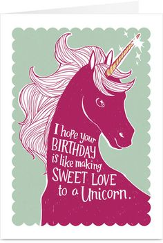 Sweet Unicorn Love Funny Birthday Card @Chinelo Onuekwusi Onubogu HAPPY BIRTHDAY!!!