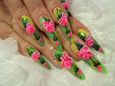 Stiletto nails - long nails with pink acrylic flowers!