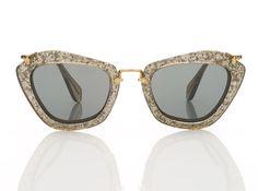 Miu miu sunglasses in silver glitter