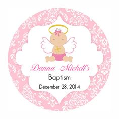 Pink Baptism Angel Label Cupcake Topper Christening Sticker