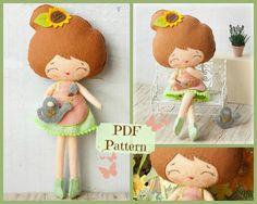 Patrón de PDF. Muñeca de floristería. Felpa muñeca por Noialand