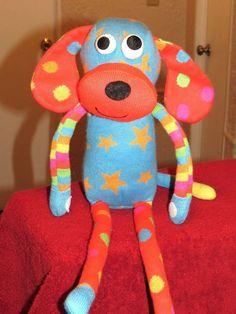 "SCM Designs 2011 Sock Monkey Type Puppy Dog 20"" Doll Plush Stuffed Animal EUC"