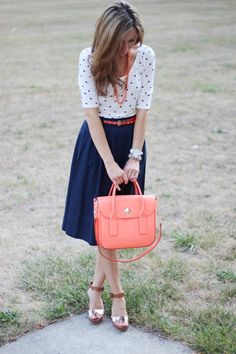 work attire | polka dots, blue skirt with coral accents {lilly's style}