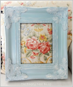 Frame painted with Duck Egg Blue and dry brushed over the corner details with Old White by The Empty Nest.