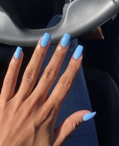 Long nails or short nails? Long nails or short nails? 😍 ( Long nails or short nails? Nails Yellow, Blue Acrylic Nails, Blue Gel Nails, Acrylic Summer Nails Coffin, Nail Art Blue, Acrylic Nails Light Blue, Baby Blue Nails With Glitter, Acrylic Nail Designs For Summer, Coffin Acrylic Nails