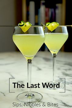 In 1916 The Last Word was the most expensive cocktail on the menu at the Detroit Athletic Club clocking in at a whopping 35 cents. Equal parts gin green chartreuse maraschino cherry liqueur and lime juice it has a wealth of herbal qualities going for it. Cocktail Drinks, Fun Drinks, Yummy Drinks, Cocktail Recipes, Beverages, Holiday Cocktails, Party Drinks, Mixed Drinks, Dinner Recipes