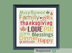 Thanksgiving cross stitch pattern, thanksgiving words, PDF, DIY ** instant download**