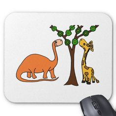 Funny Dinosaur and Giraffe Cartoon Mouse Pads