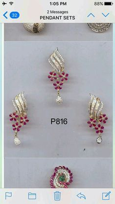 Ruby and cz set in gold Ruby Jewelry, Gems Jewelry, Wedding Jewelry, Jewelery, Mini Hoop Earrings, Small Earrings, Diamond Necklace Set, Diamond Pendant, Gold Jhumka Earrings