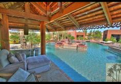Love the Thai-style pool and outdoor living space.  Serrano Way, Rancho Mirage, CA