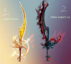 weapon adopt 01 02, Angel curved swords by ElkaArt