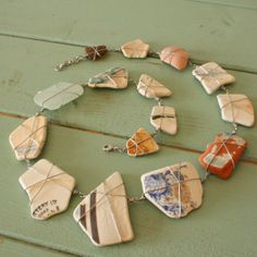 Beach Shack Project - surgical stainless steel wire wrapped sea glass and pottery necklace. £58