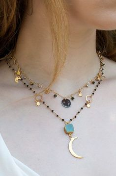 DIAMOND and OPAL NECKLACE - Star charm