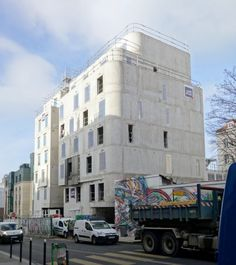 Logements étudiants et crèche   Paris 20 - chantier Construction, Multi Story Building, Street View, Outdoor Areas, Building
