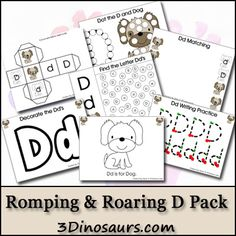 Free Romping & Roaring D Pack - 3Dinosaurs  Great site for reading/writing activities for little ones.