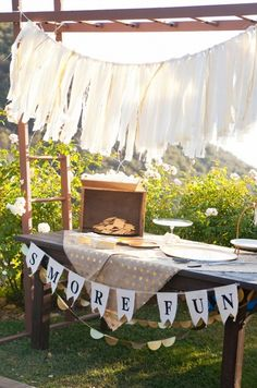 S'more fun bar with smores fixings by fire pits. Captured By: Alyssa Marie Photography ---> http://www.weddingchicks.com/2014/05/09/lucky-penny-wedding-tradition-you-will-love/