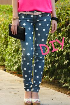 DIY polka dot jeans,DIY Dipped and Polka Dotted Flats Polka Dot Jeans, Polka Dots, Do It Yourself Fashion, Cut Work, Old Jeans, Clothes Crafts, Diy Clothing, Swagg, Refashion