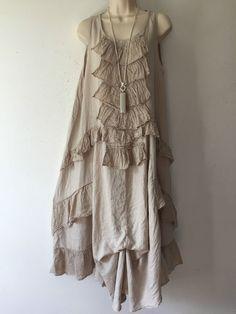 Quirky Lagenlook Linen Ruffle/layered front Maxi Dress-Boho-Size14/16 StoneBeige #JSMillenium #Maxi