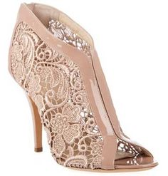 Givenchy pink lace peep toe shoe boots