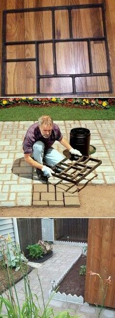 Weld peices of metal together to create a template for patio stones