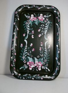 A Metal Tray Base Painted Green Hand Painted by FolkArtByNancy