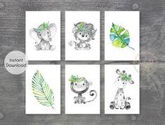Set of 6 Grey Safari Animal Printable Prints - Jungle Nursery Wall Art Pictures - Printable Wall Art
