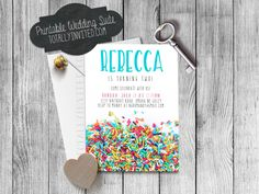 Sprinkle Birthday Party invitation (custom made for your shower!) PRINTABLE digital file Pretty rainbow first birthday colorful by TotallyInvited on Etsy https://www.etsy.com/listing/196359909/sprinkle-birthday-party-invitation