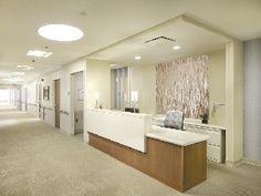 NYREJ - Project of the Month: North Shore-LIJ Health System ... Dental Office Design, Healthcare Design, Modern Hospital, Womens Health Care, Nurses Station, Hospitals, North Shore, Color Schemes, Projects