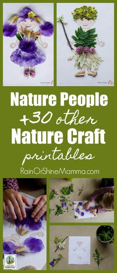 Nature People and 30 Other Nature Craft Printables. This printable pack is the perfect art and craft activity using only natural materials. Fun for preschoolers as well as kindergarteners and grade schoolers. Get the printable pack and JUST ADD NATURE! Forest School Activities, Outdoor Activities For Kids, Nature Activities, Outdoor Learning, Outdoor Play, Spring Activities, Crafts For Girls, Arts And Crafts, Kids Crafts