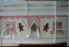 Gingerbread Cottage children's bunk bed tent. Inspiring imaginative and creative play. Quick and easy to attach. Custom hand made. on Etsy, £55.00