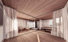 Jean Nouvel . SIMPLE  PREFAB HOUSE (16) Jean Nouvel, Prefab Homes, Small Living, House, Curtains, Interior Design, Simple, Room, Furniture