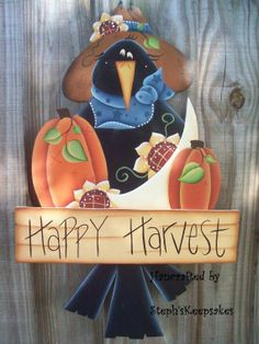Crow and pumpkins painting