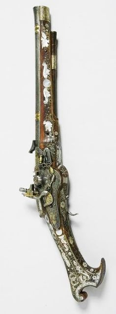 A pistol dating from circa made of steel, silver, wood, mother-of-pearl. Just the sort of weapon for a pearl miner . Weapons Guns, Guns And Ammo, Flintlock Pistol, Gun Art, Arm Armor, Cool Guns, Cannon, Firearms, Hand Guns